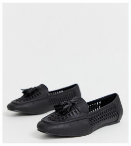 New Look wide fit pu woven loafer in black