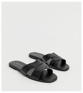 New Look cross strap flat slider sandal in black croc