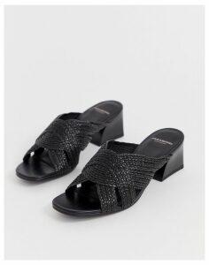 Vagabond bella black woven heeled mules