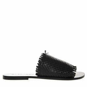 Strategia Black Leather Slipper Sandal