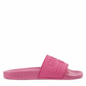 Gucci Embossed Logo Fuchsia Rubber Slides