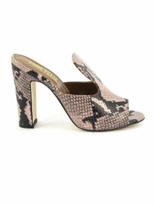 Paris Texas Pink Leather And Python Snakeskin Sandals
