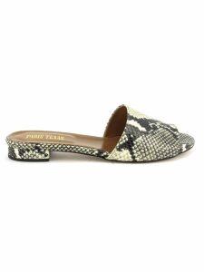 Paris Texas Python Snakeskin Slip-on Sandals