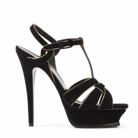 Saint Laurent Tribute Black Suede Sandals With Gold Leather Trim