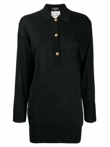 Chanel Pre-Owned 1990's silk slim polo shirt - Black