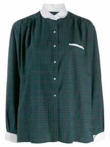 Burberry Pre-Owned 1980's club collar checked shirt - Green