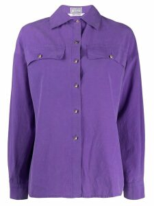 Versace Pre-Owned 1980's cutaway collar shirt - PURPLE