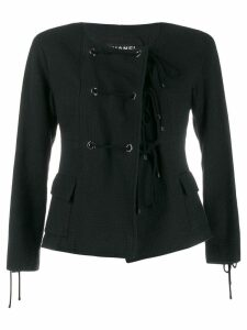 Chanel Pre-Owned 2007's collarless lace-up jacket - Black
