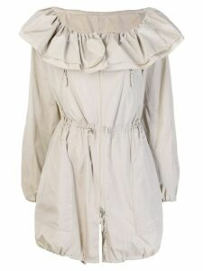 Giorgio Armani Pre-Owned 2000's ruffled drawstring coat - NEUTRALS