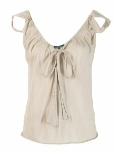 Gucci Pre-Owned 1990's drawstring neck blouse - NEUTRALS