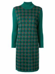 Yves Saint Laurent Pre-Owned argyle pattern dress - Green