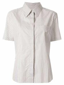 Chanel Pre-Owned CC logo short sleeve striped shirt - Brown