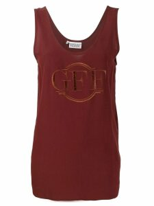 Gianfranco Ferré Pre-Owned logo embroidered tank top - Brown