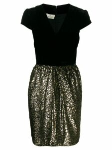 Valentino Pre-Owned 1980s lurex detailing shortsleeved dress - Black