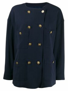 Chanel Pre-Owned 1980s double-breasted collarless jacket - Blue