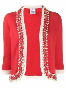 Chanel Pre-Owned 2010s faux-pearls braided trimming cardigan - Red