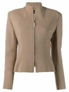 Jean Louis Scherrer Pre-Owned '1990s funnel neck jacket - Neutrals