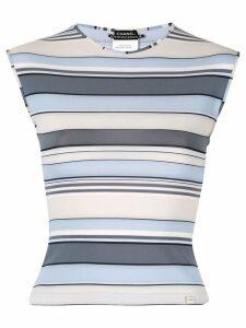 Chanel Pre-Owned CC Logos Border Sleeveless Tops - Blue