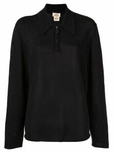 Hermès Pre-Owned Long Sleeve Zip Up Sweatshirt - Black