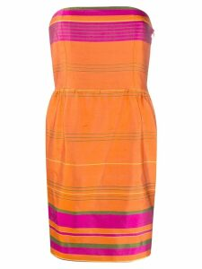 Valentino Pre-Owned striped strapless dress - Orange