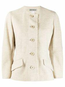 Issey Miyake Pre-Owned round neck jacket - NEUTRALS