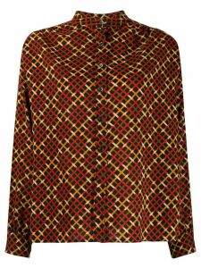 Yves Saint Laurent Pre-Owned checked band collar blouse - Red