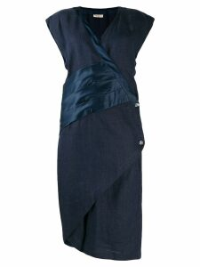 Versace Pre-Owned 1980's envelope style asymmetric dress - Blue