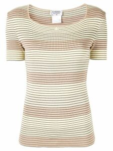 Chanel Pre-Owned striped ribbed shortsleeved blouse - Multicolour