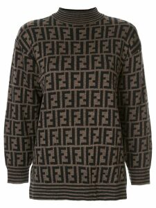 Fendi Pre-Owned knitted monogram jumper - Brown