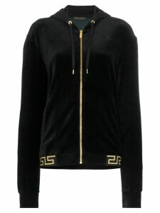 Versace Greek Key-trimmed velvet hoodie - Black