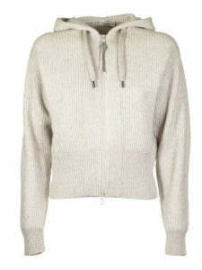 Brunello Cucinelli Cream Knitted Zip Fleece