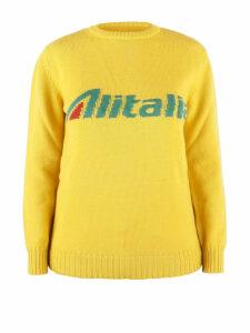 Alberta Ferretti Alitalia Logo Intarsia Yellow Wool Sweater J098116131029