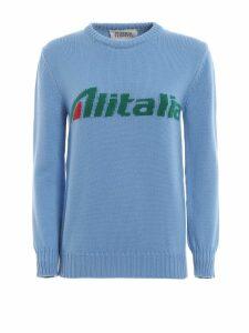 Alberta Ferretti Alitalia Logo Intarsia Blue Wool Sweater J098116131294