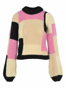 Ganni Hand Knit Wool Puff Pullover