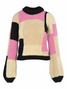 Ganni Hand Knit Wool Puff Pullover