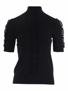 See By Chloe High Neck Sweater With Lace Detail
