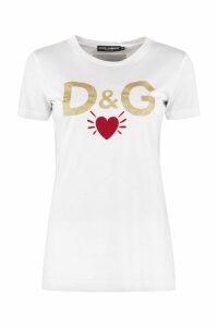 Dolce & Gabbana Glitter Logo Cotton T-shirt