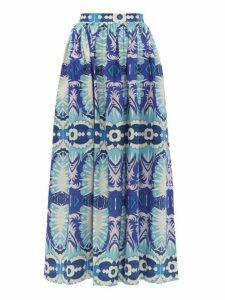 Le Sirenuse, Positano - Jane Printed Cotton Poplin Midi Skirt - Womens - Blue