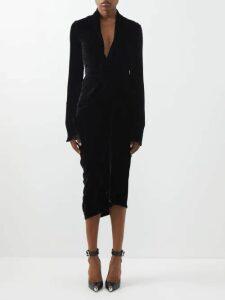 Gioia Bini - Chiara Pleated Linen Midi Dress - Womens - Navy