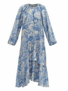 Belize - Harper Tropical Print Satin Midi Dress - Womens - Blue Print