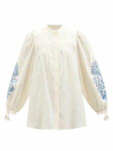 Staud - Blouson-sleeve Cotton-blend Top - Womens - Light Pink