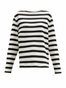 Saint Laurent - Striped Loop Back Cotton Jersey Sweater - Womens - Black White