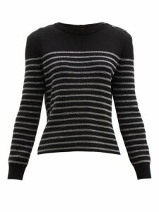Saint Laurent - Metallic Stripe Cotton Blend Sweater - Womens - Black Silver