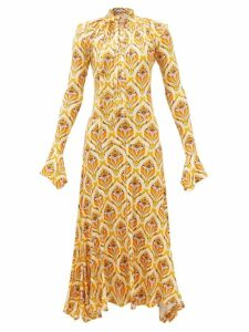Msgm - Ruffled Pussy Bow Satin Blouse - Womens - Pink