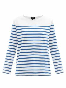 By Walid - Nil Multi-stripe Cotton-poplin Shirt - Womens - Blue Multi