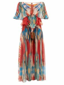 Self-portrait - Ruffled Floral-print Satin Top - Womens - Navy