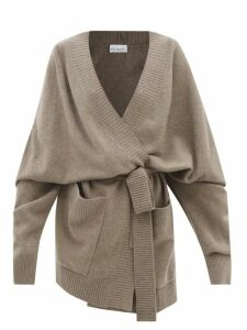 Mm6 Maison Margiela - Logo Print Oversized Cotton Twill Jacket - Womens - Beige