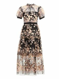 Self-portrait - Floral Sequin Embellished Tulle Midi Dress - Womens - Black Multi