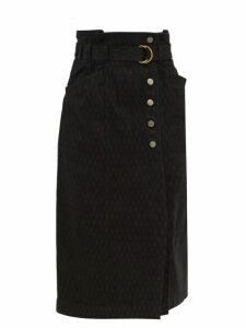 Redvalentino - Tie Neck Wool Blend Sweater - Womens - Navy