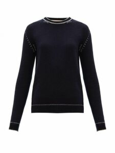 Marni - Contrast Stitch Cashmere Sweater - Womens - Blue White